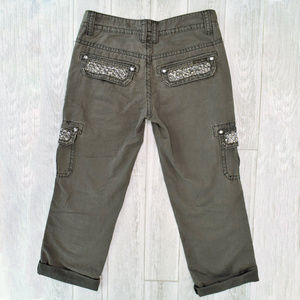 Miss Me Cargo Pants with Rhinestones Size 25 Gray